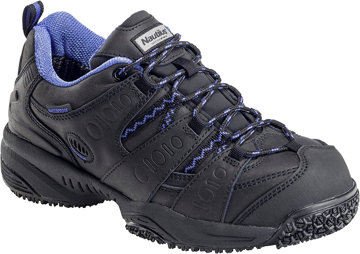 Nautilus Womens Black Leather//PU Comp Toe Waterproof EH Work Shoes 6 W