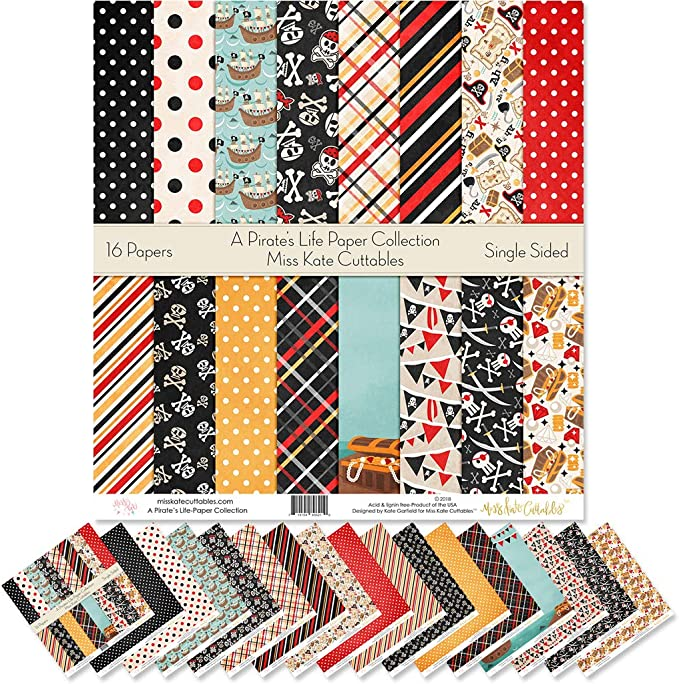Pattern Paper Pack Scrapbook Specialty Paper Single-Sided 12x12 Collection Includes 16 Sheets A Pirates Life by Miss Kate Cuttables