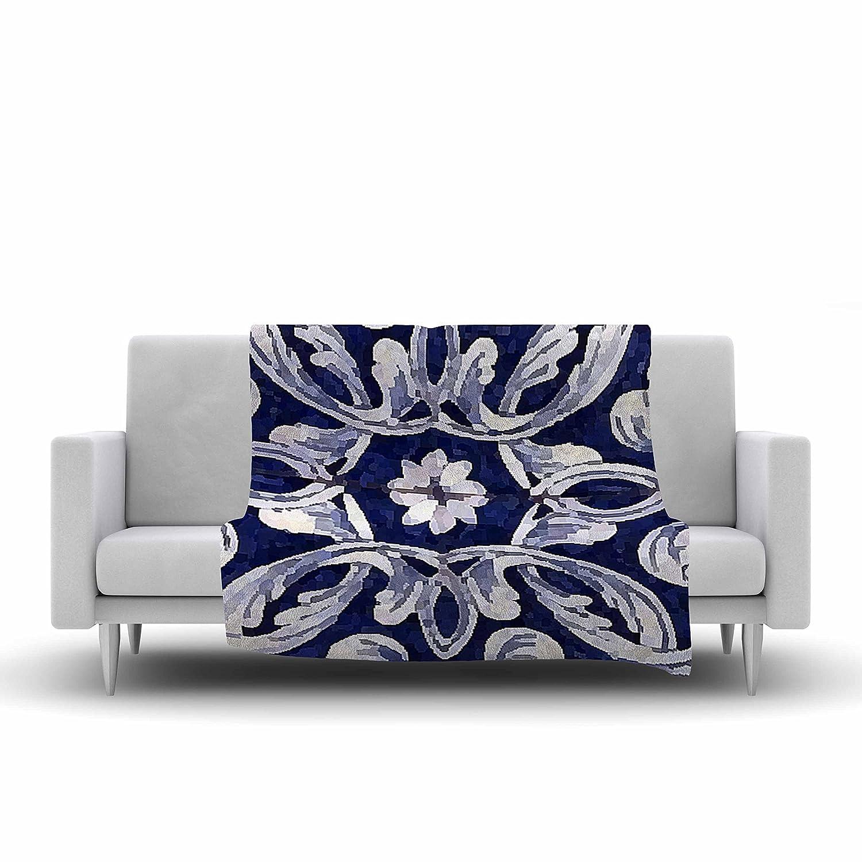 60 by 50-Inch 60 X 50 Kess InHouse Oriana Cordero Lisboa Blue Yellow Fleece Throw Blanket