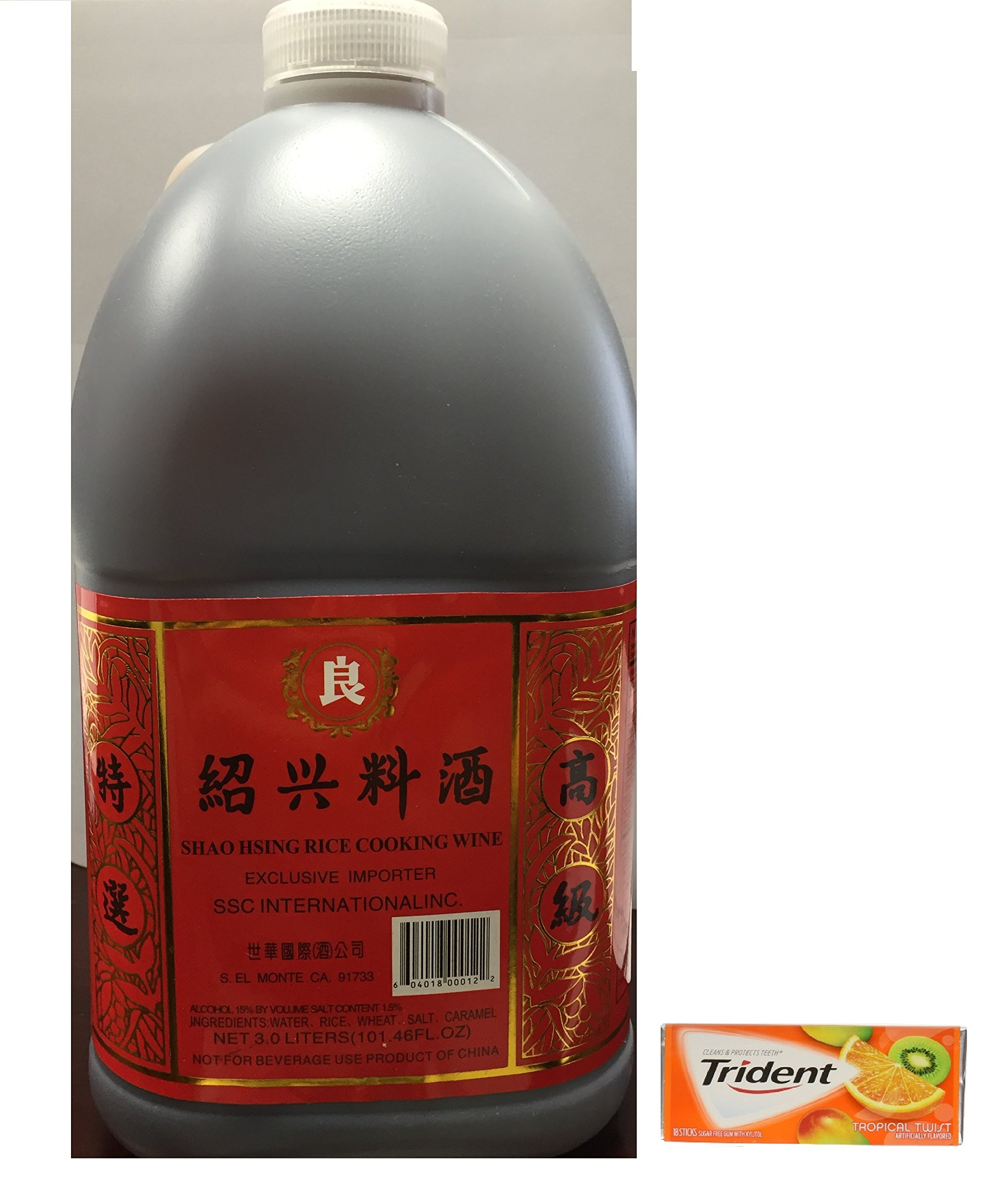 SHAOHSING RICE COOKING WINE 3.0 LITERS(101.46FL OZ) plus a Free Gift Trident Gum, Tropical Twist Flavor
