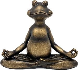 "Nature's Mark 6"" H Resin Yoga Frog Statue Figurine Home Decorative Accent Decor for Tabletop Living Room Bedroom Office Desktop Cabinet Shelf"