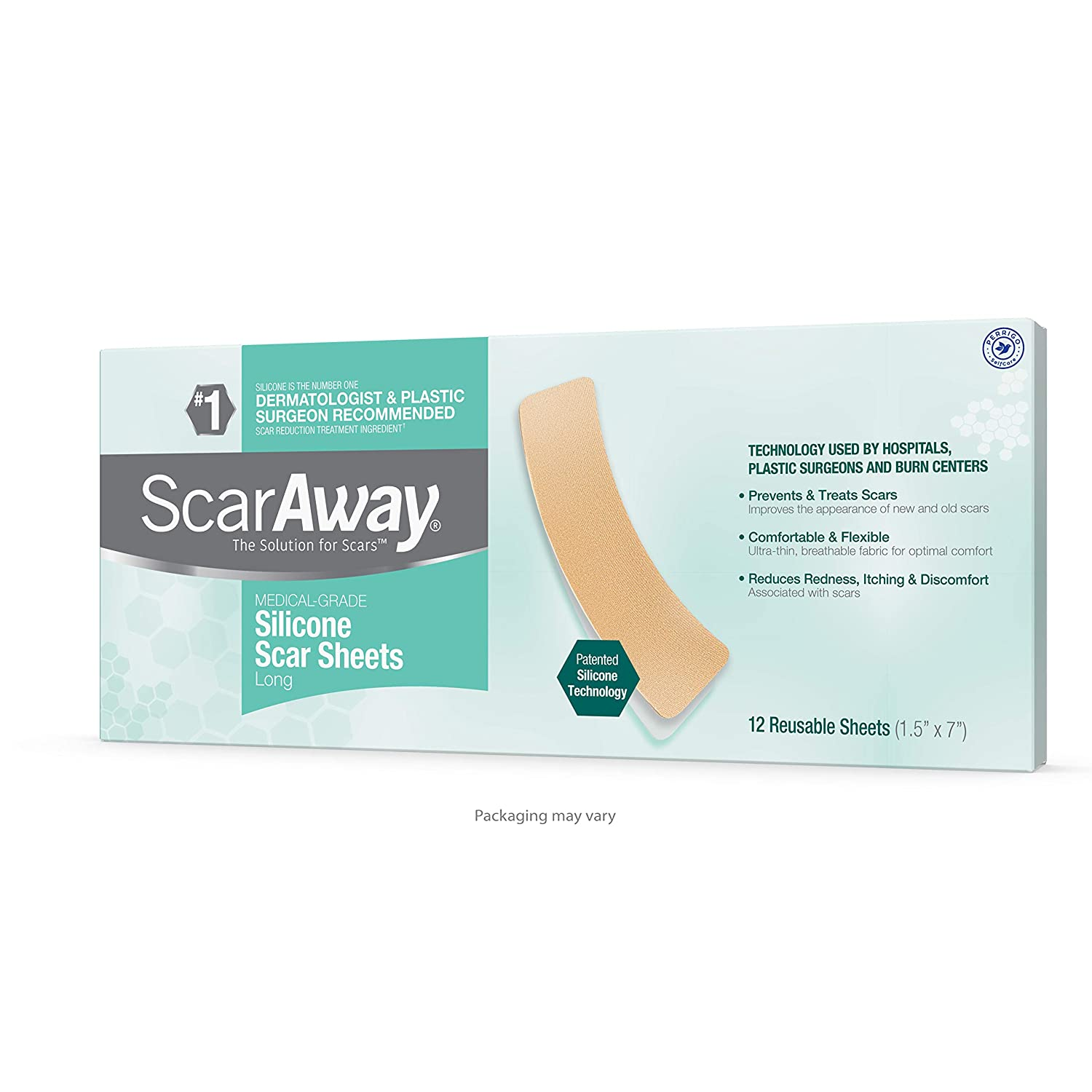 ScarAway Long Silicone Scar Sheets for Hypertrophic Scars and Keloids Caused by Surgery Injury Burns