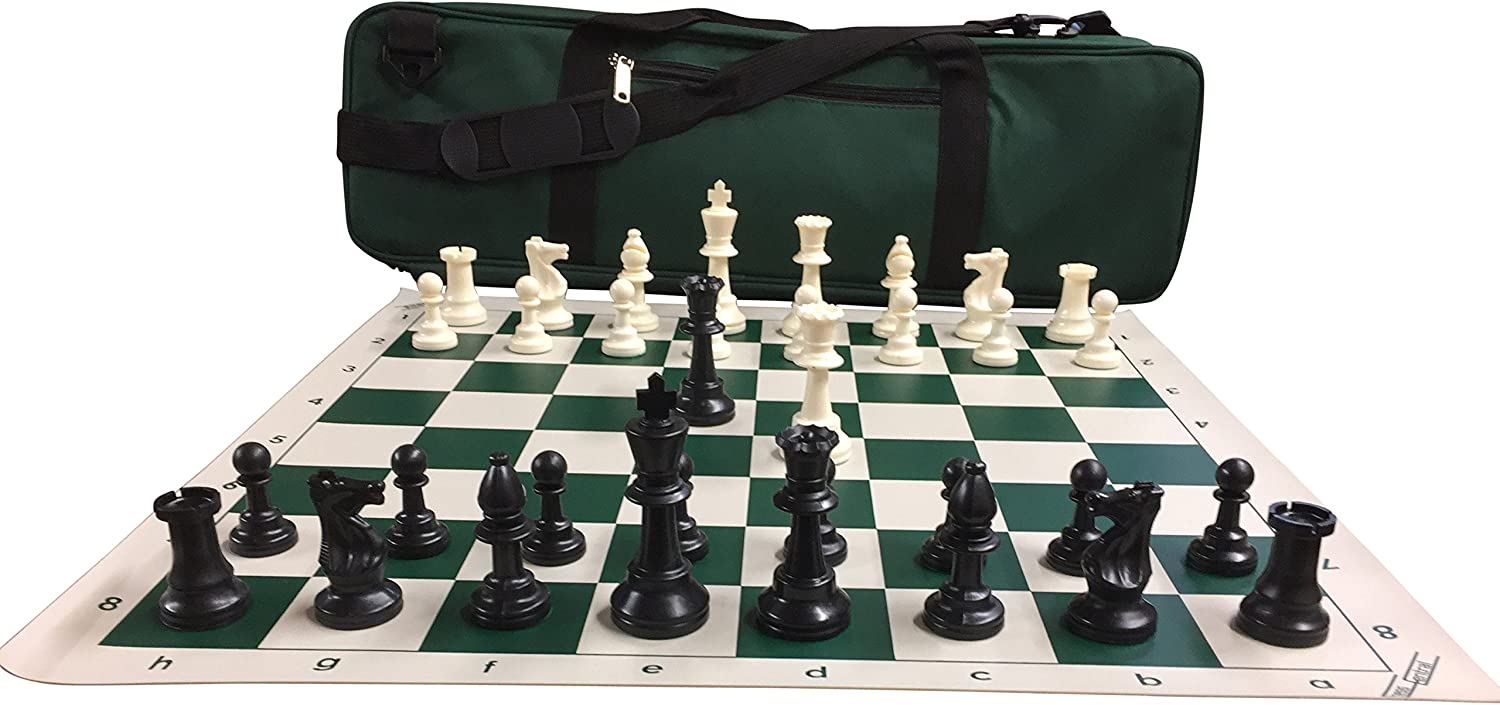 Staunton Triple Weighted Chess Pieces Full Set 34 Black /& Green 4 Queens
