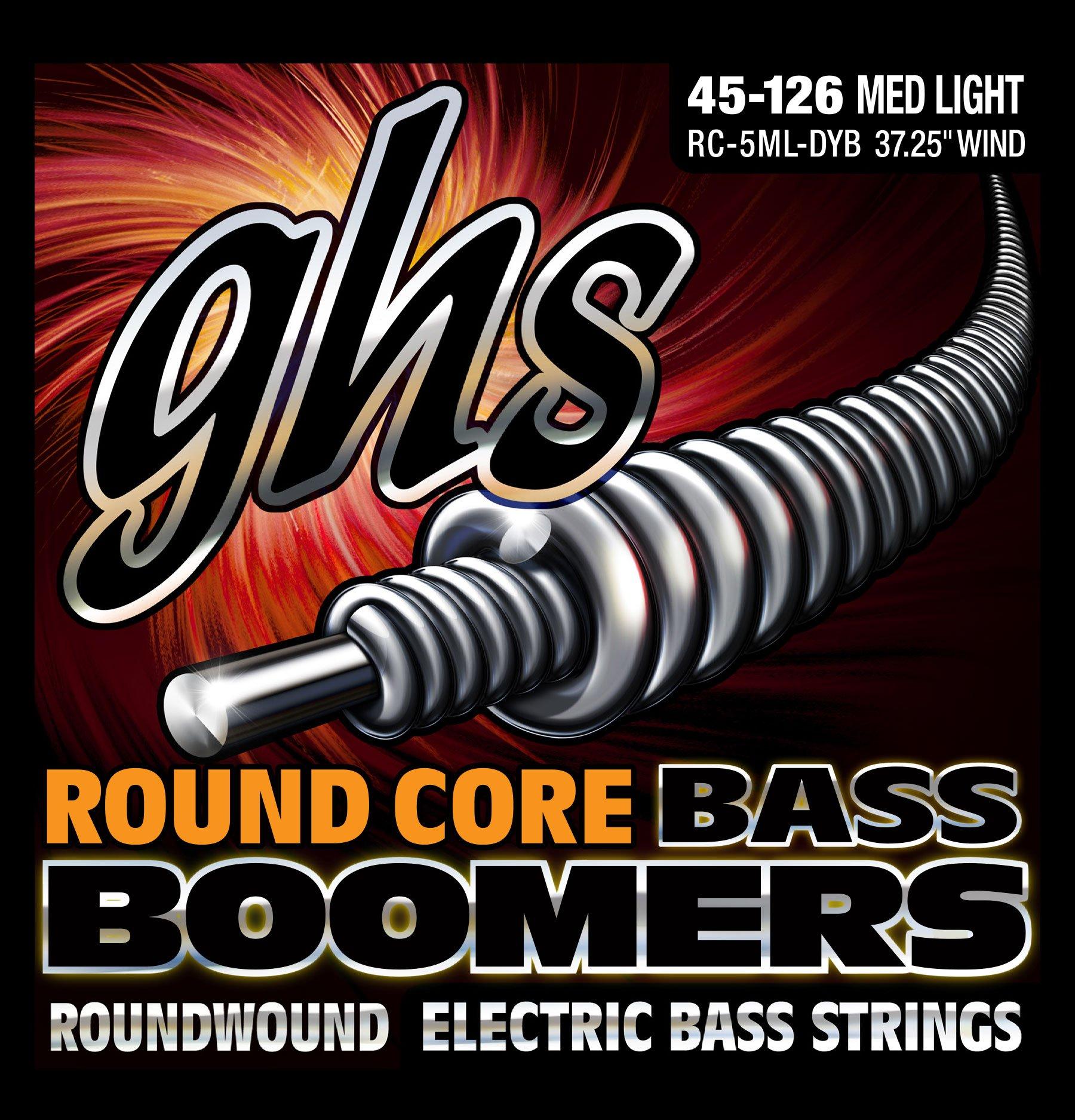 GHS Strings RC-5ML-DYB Round Core Bass Boomers, 5-Set, Medium Light Gauge (37.25'' winding)