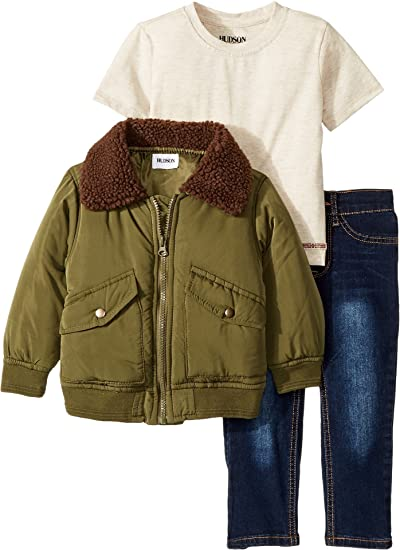 9fe6215f290 Amazon.com: Hudson Kids Baby Boy's Poly Puffer Jacket with Sherpa Collar,  Oatmeal Heather Jersey Tee, Stretch Denim Jeans (Toddler) Rider Wash 3T:  Clothing