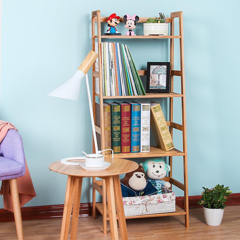 Amazon.com: SONGMICS Bamboo Ladder Shelf Bookcase 4 Shelf ...