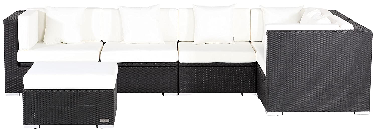 outflexx sitzgruppe aus polyrattan mit kissenboxfunktion inkl polster f r 6 pers schwarz g nstig. Black Bedroom Furniture Sets. Home Design Ideas