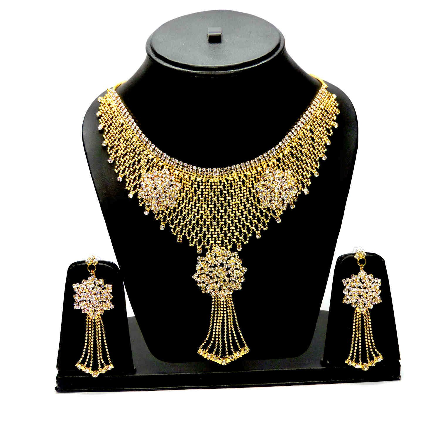 Buy Eshopitude Cz American Diamond Gold Plated Necklace & Earrings