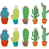 OULII Cute Cactus Wooden Photo Clips Note Memo Card Holder for Summer Luau Party Favor Pack 10pcs