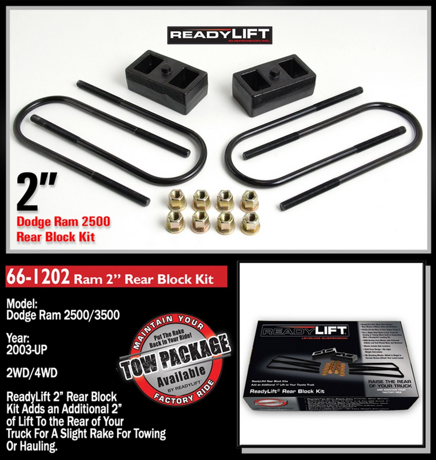 ReadyLift 66-1202 2.0'' Rear Block Kit for Dodge RAM 2500/3500 2WD/4WD