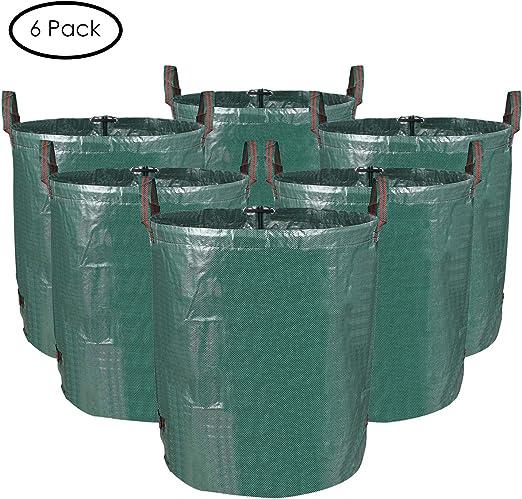 MVPOWER Set de 6pcs x 272L de Bolas de Residuos para Jardín Bolsas de Basura de Desechos de Jardín Bolsa Resistente y Plegable para Hoja Césped Siembra Color Verde: Amazon.es: Jardín