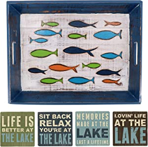 Lake House Decor for The Home Decorative Serving Tray with Handles and Lake Life Sayings Drink Coasters