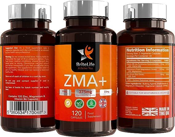 ZMA+ (Suplemento de Zinc, Magnesio y Vitamina B6) - 125 mg por porción | PARA SOPORTE INMUNO, HORMONAL Y ATLÉTICO | TESTOSTERONA NATURAL | 120 cápsulas de ...