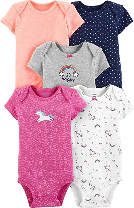 Carter/'s 5-Pack Baby Girl Kitty Cat Bodysuits~BN~Sizes 9,12,18,24 Months