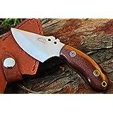 "DKC-89-CS VORTEX Fixed Hunting Skinner Knife Carbon Steel Mahogany Micarta 6"" Long, 3"" Blade 6.7oz DKC Knives"