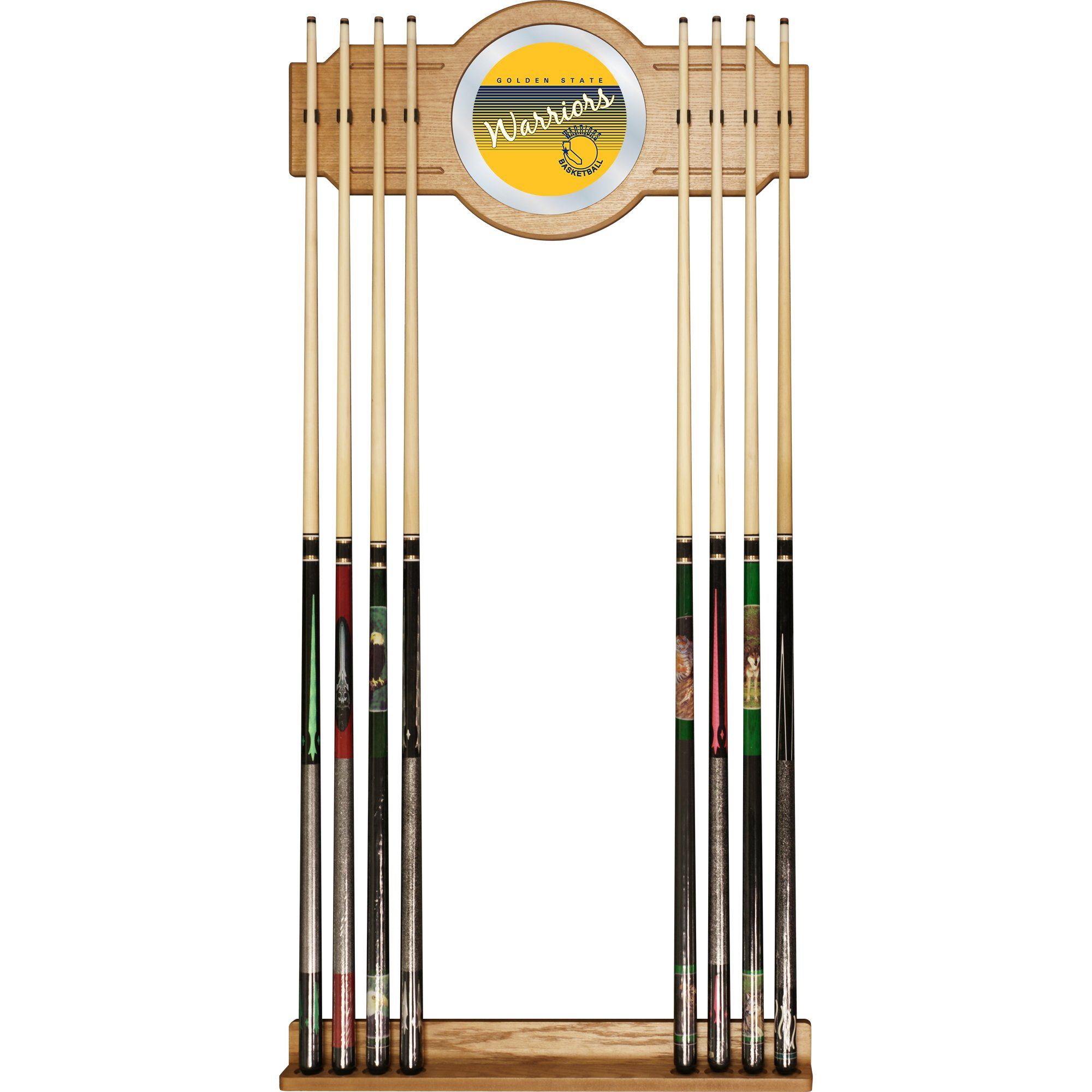 NBA Golden State Warriors Cue Rack with Mirror, One Size, Brown