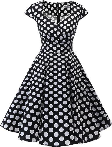 TALLA M. Bbonlinedress Vestido Corto Mujer Retro Años 50 Vintage Escote Black White Bdot