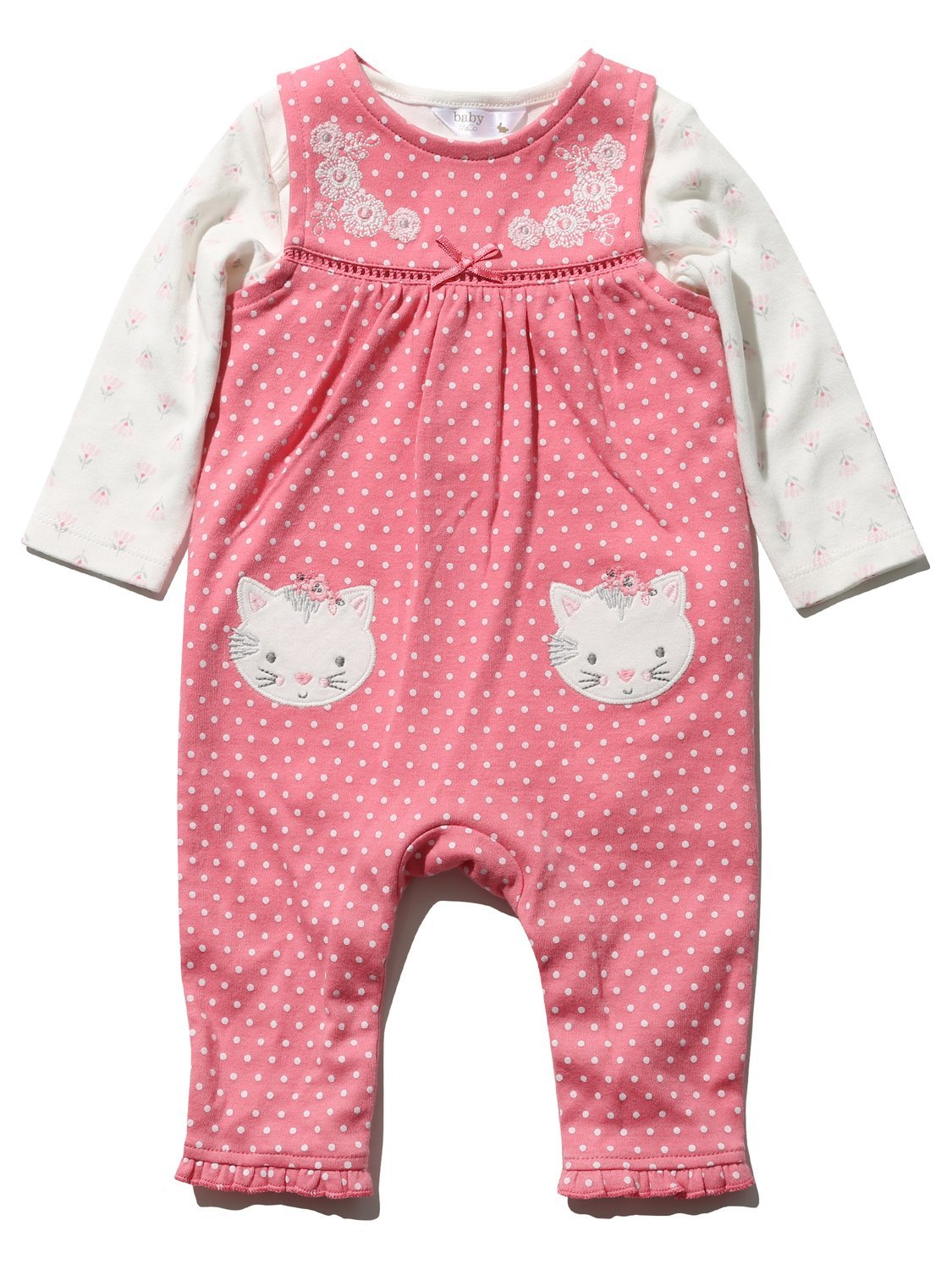 M&Co Newborn Baby Girl Pink Polka Dot Cat Applique Dungarees and Long Sleeve Top Set