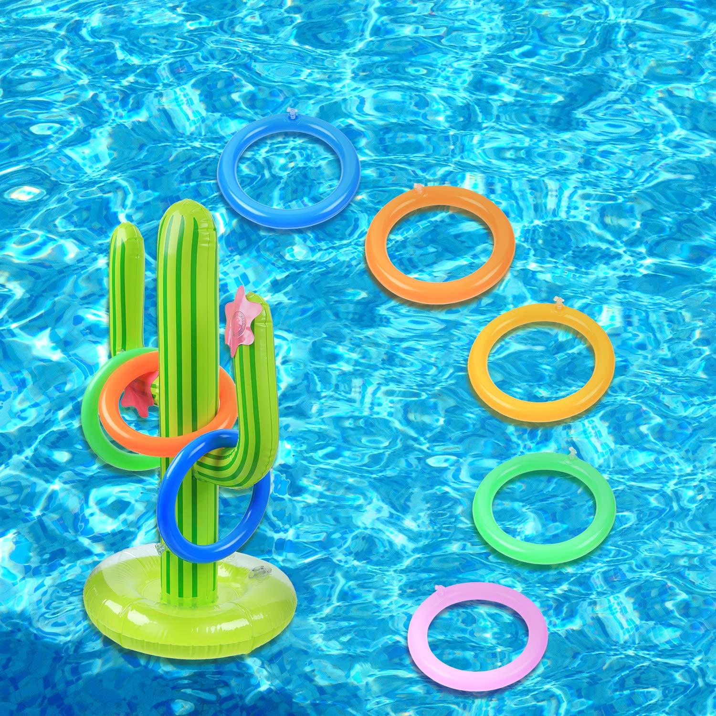 Amazon.com: Juego de anillos inflables de cactus, incluye 2 ...