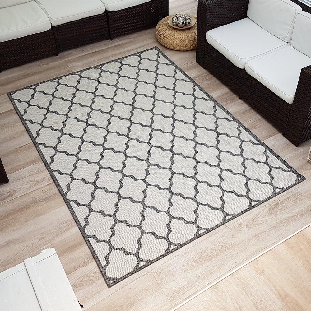 Wendeteppich »PALACE« In- & Outdoorteppich Webteppich Sisal-Optik Flachgewebe modern, Größe 200x290 cm, Farbe grau creme
