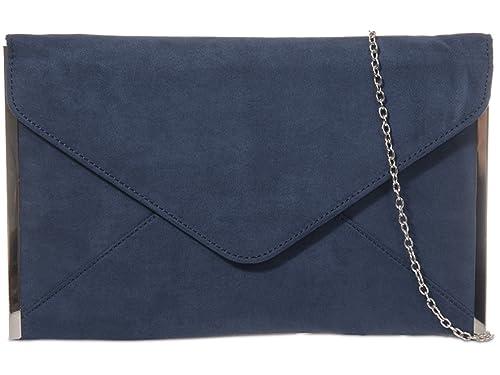 fi9® - Cartera de mano de ante para mujer azul azul marino: Amazon.es: Zapatos y complementos
