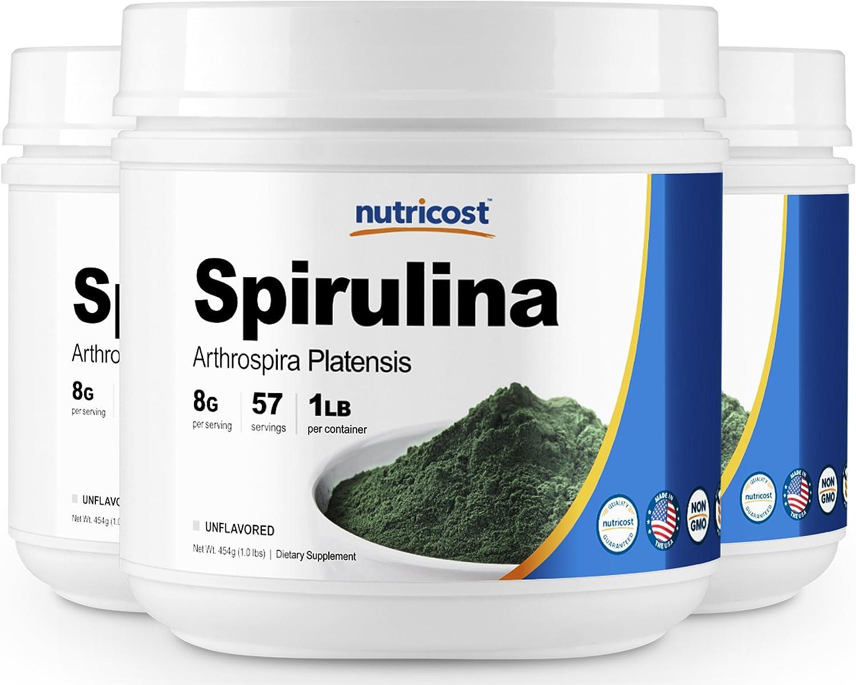 Nutricost Spirulina 1LB 3 Bottles – Pure Spirulina Powder – 3LBS, 8000mg Per Serving, High Quality