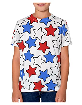 6196737149b8 TooLoud Red White and Blue Stars Youth T-Shirt Dual Sided 10 yrs All Over
