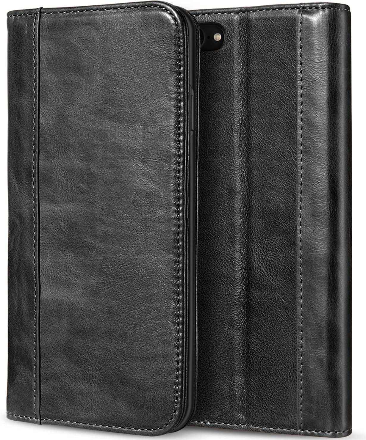 ProCase Wallet Case for iPhone SE 2020/ iPhone 8/ iPhone 7, Genuine Leather Case Vintage Wallet Folding Flip Case with Kickstand Card Holder Protective Cover -Black