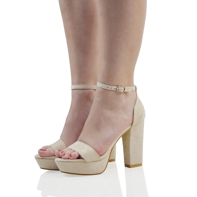 6855f5a093a ESSEX GLAM Womens Platform Block Heel Sandals Ladies Peeptoe Party Ankle  Strap Shoe Size MK-1