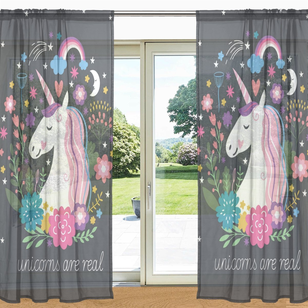 MyDaily Floral Unicorn And Rainbow Printed Sheer Window and Door Curtain 2 Panels 55 x 78, Rod Pocket Panels for Living Room Bedroom Decor