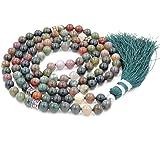 Mala Budista, Gema Mala Beads Collar/Pulsera, Buddist Mala Collar/Pulsera, Anudado Collar