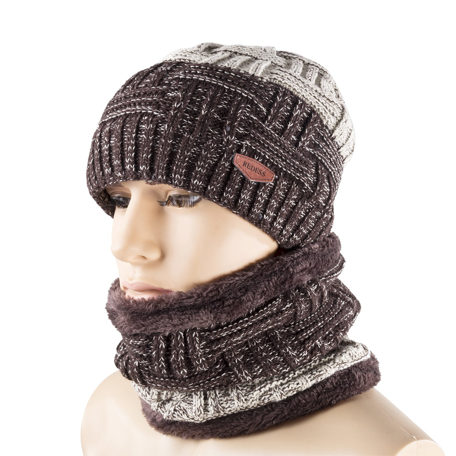 REDESS Winter Warm Beanie Knitting Hat Scarf Neck Warmer Men and ... 9bee3ea5a7ed
