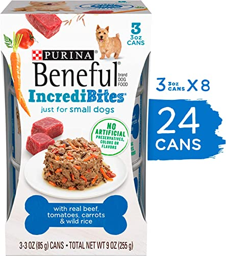 Purina Beneful Small Breed Wet Dog Food, IncrediBites With Real Beef – 8 Packs of 3 3 oz. Cans