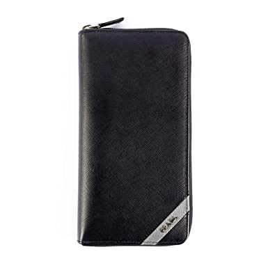 c9979692e571 Prada Saffiano Leather Document Holder Wallet Black: Amazon.co.uk: Clothing