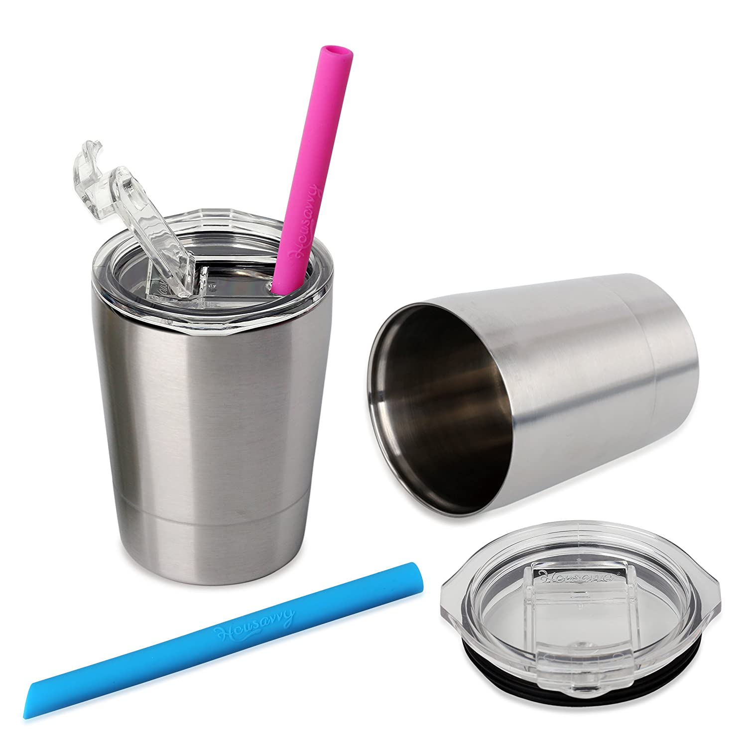 c2e4d681f0f Amazon.com : Housavvy 2 Pack Kids Stainless Steel Cups with Lids and Straws  : Baby