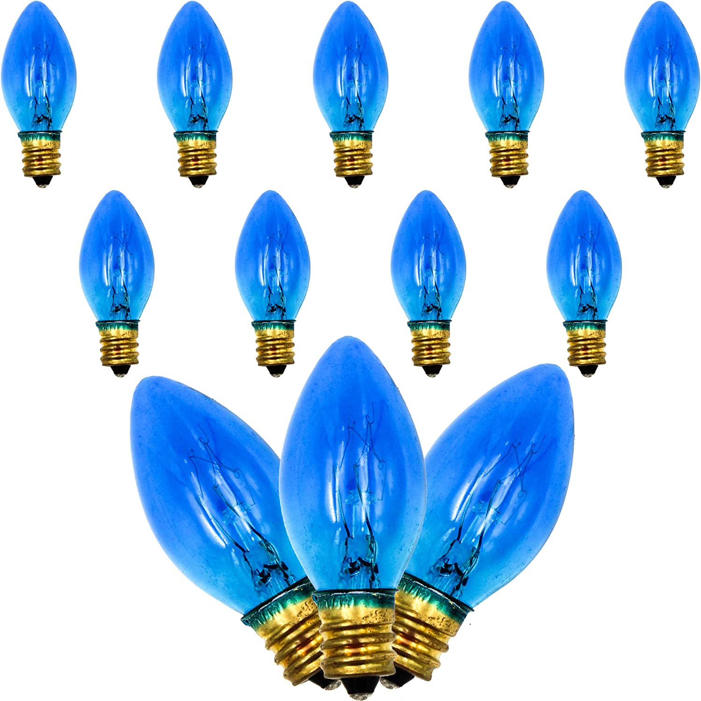 Amazon Com Menorah Glass Replacement Bulbs Electric Hanukkah C7 1 2 9ct Blue Kitchen Dining