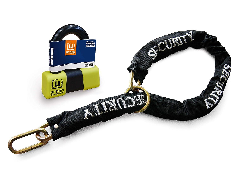Urban security U75+ 10.120l Cadenas antivol Mini U Ø 18Haute Gamme homologué SRA + Chaîne Bowknot Multifonction 120cm Artago Secure