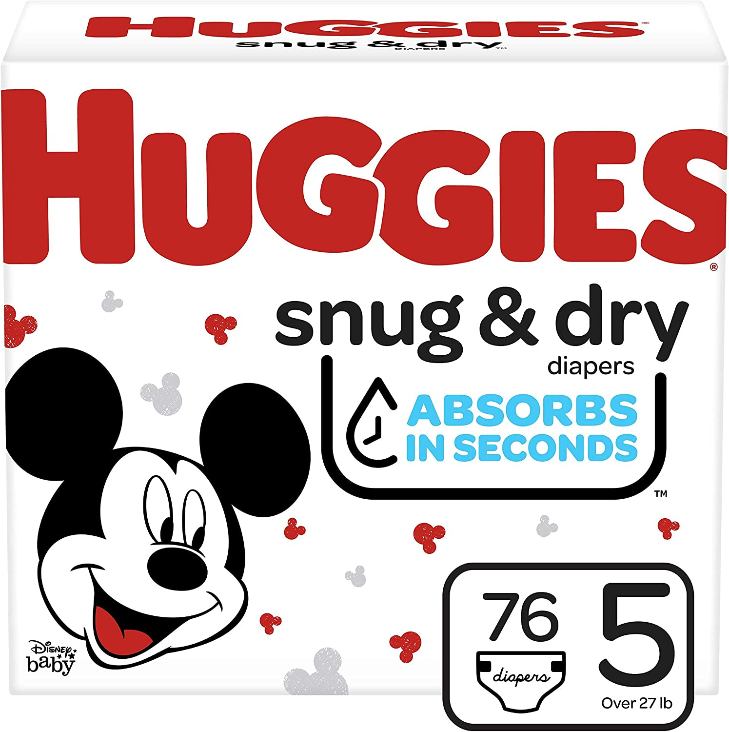 Huggies Snug & Dry Baby Diapers, Size 5, 76 Ct (51534)