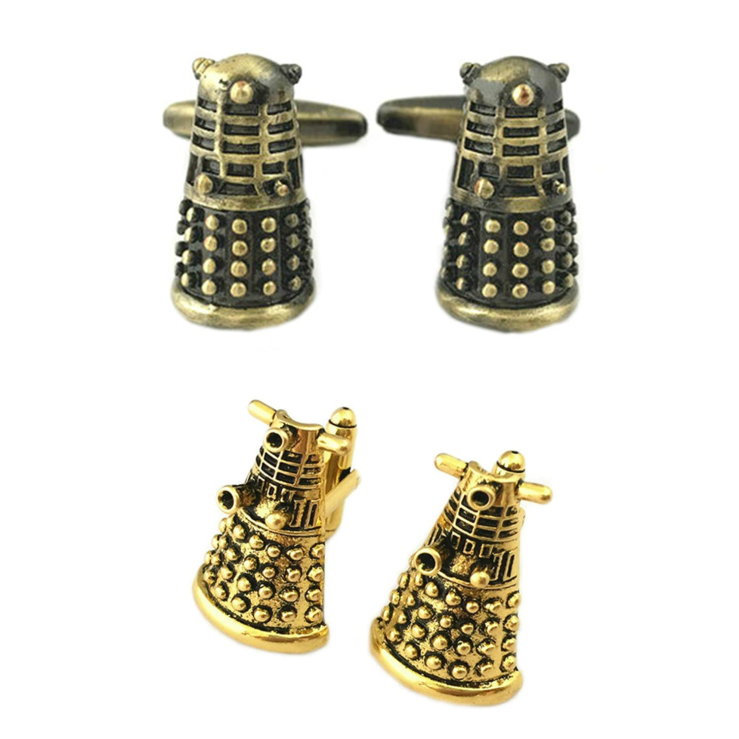 Outlander Gear Doctor Who 2 Pairs Dalek Bronze & Dalek Gold Superhero 2018 Sci-fi TV Series Wedding Groom Groomsmen Mens Boys Cufflinks