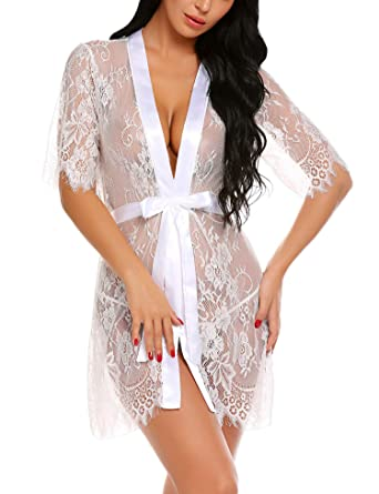 5994883ed8 wearella Women s Lace Kimono Robes Mesh Babydoll Lingerie Sleepwear Short  White S