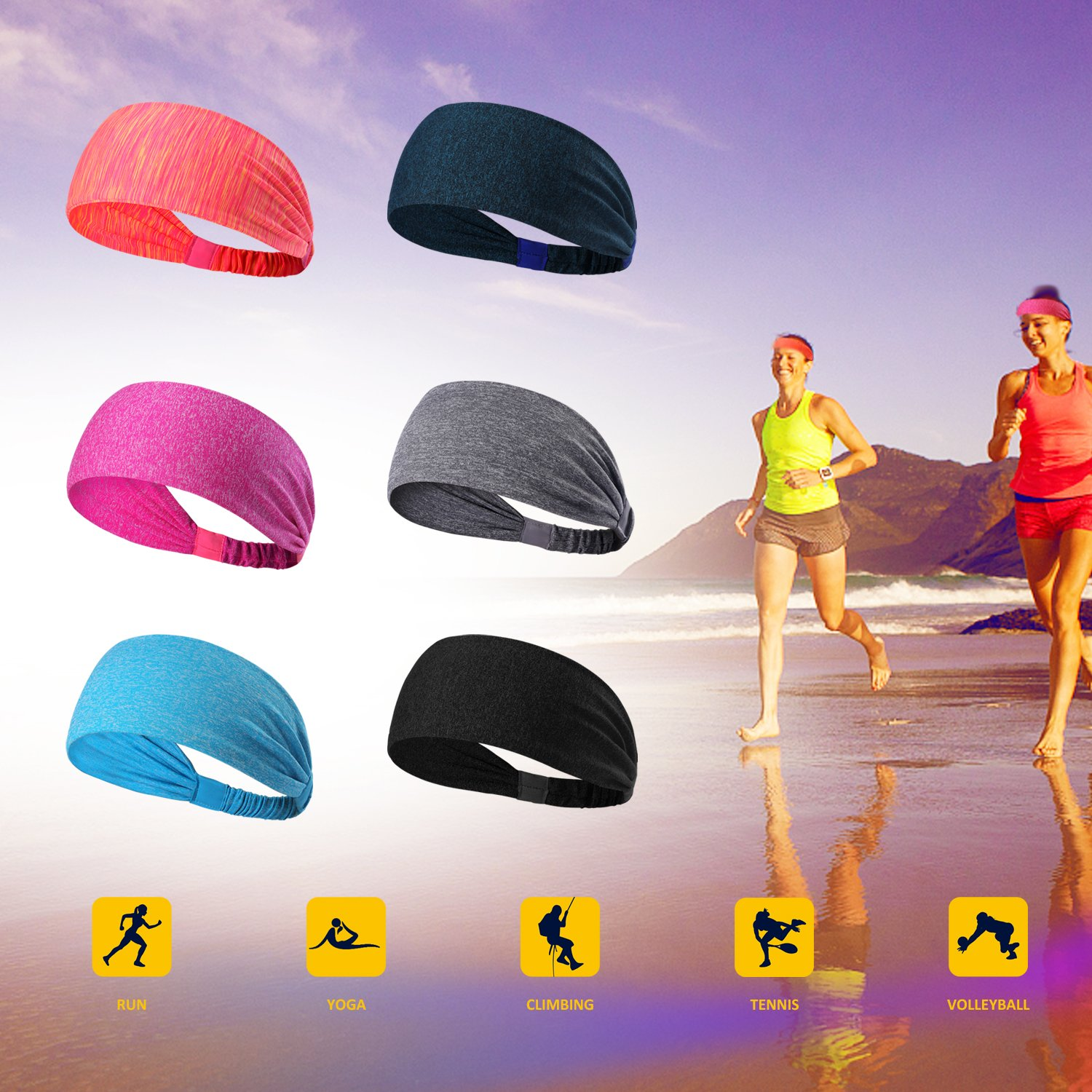 6 Pieces Sport Headband Yoga/Cycling/Running /Fitness ExerciseHairband Elastic Sweatband for Unisex by Leoter (Image #5)