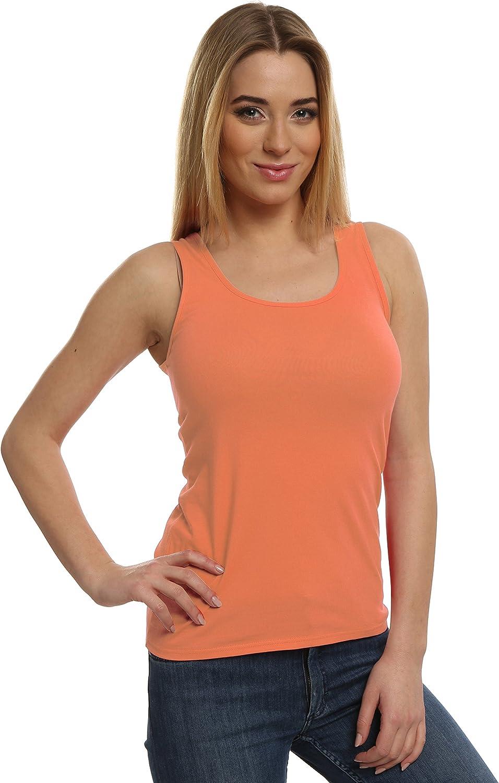 Italian Fashion IF Camiseta de Tirantes Anchos Mujer 373Z1 (Salmón, L): Amazon.es: Ropa y accesorios