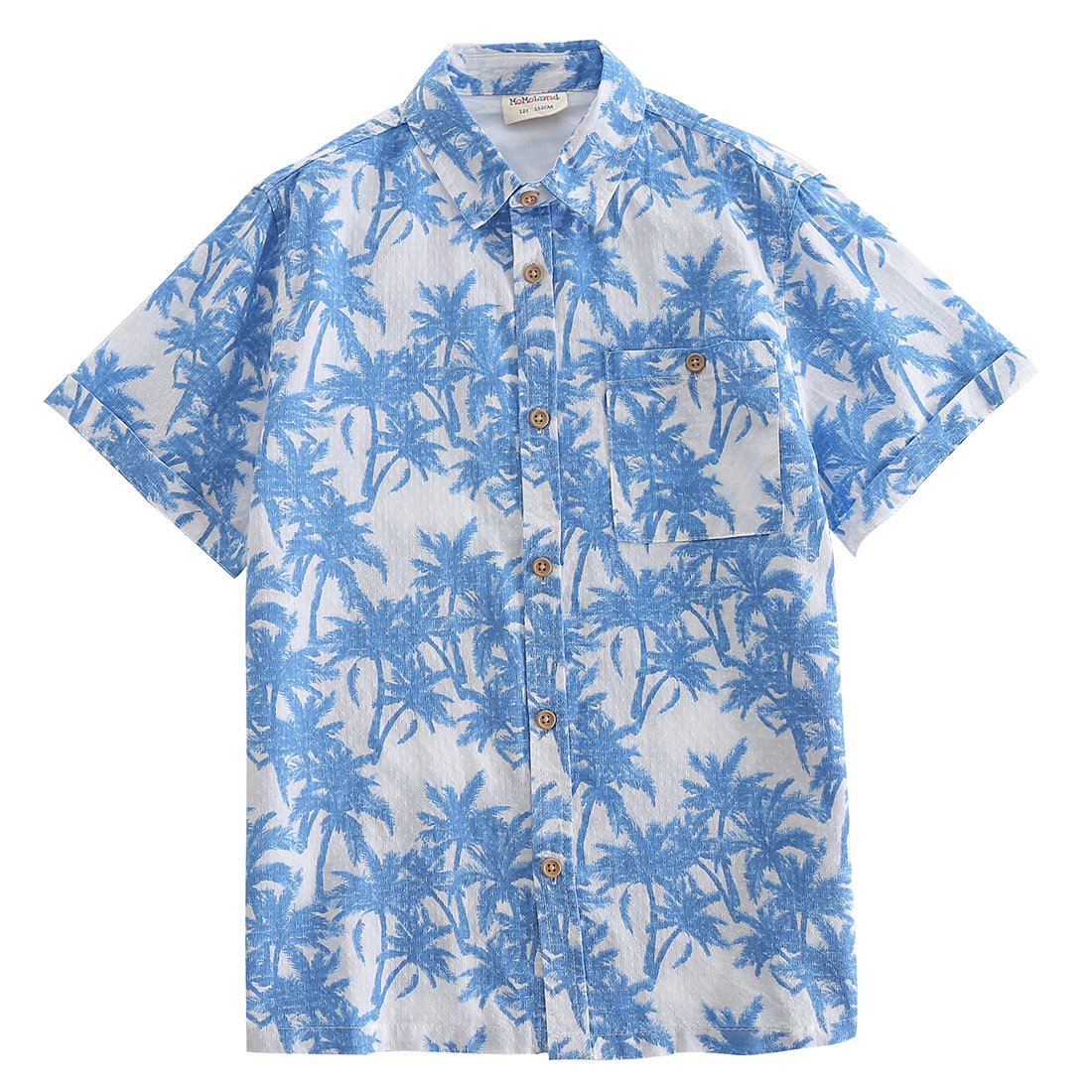 MOMOLAND Big Boys' Short Sleeve Woven Print Button Down Shirt Blue