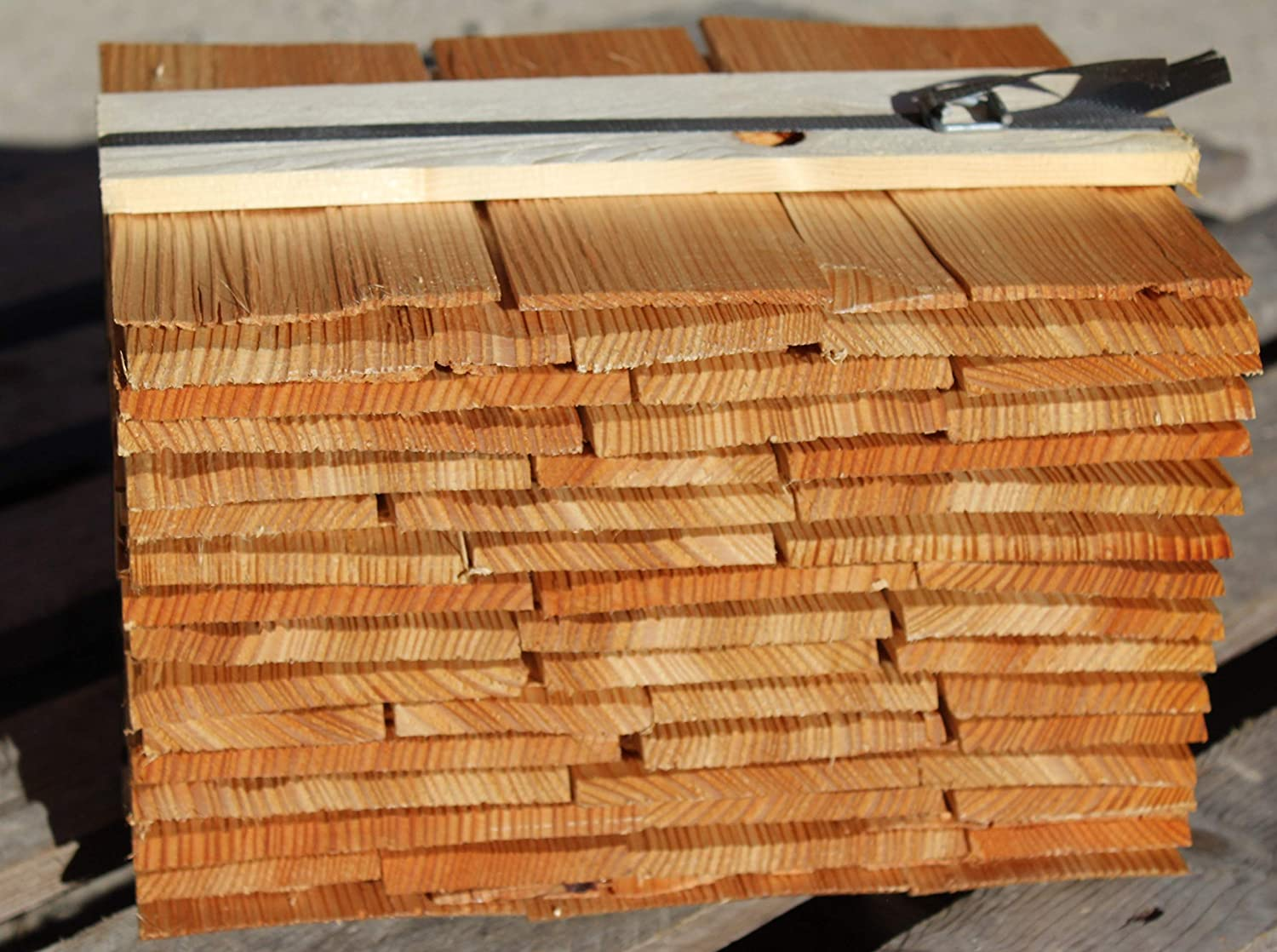 Larch Wood Shingels 20cm, split, 9 meter package Stefan Rapold Holzschindeln