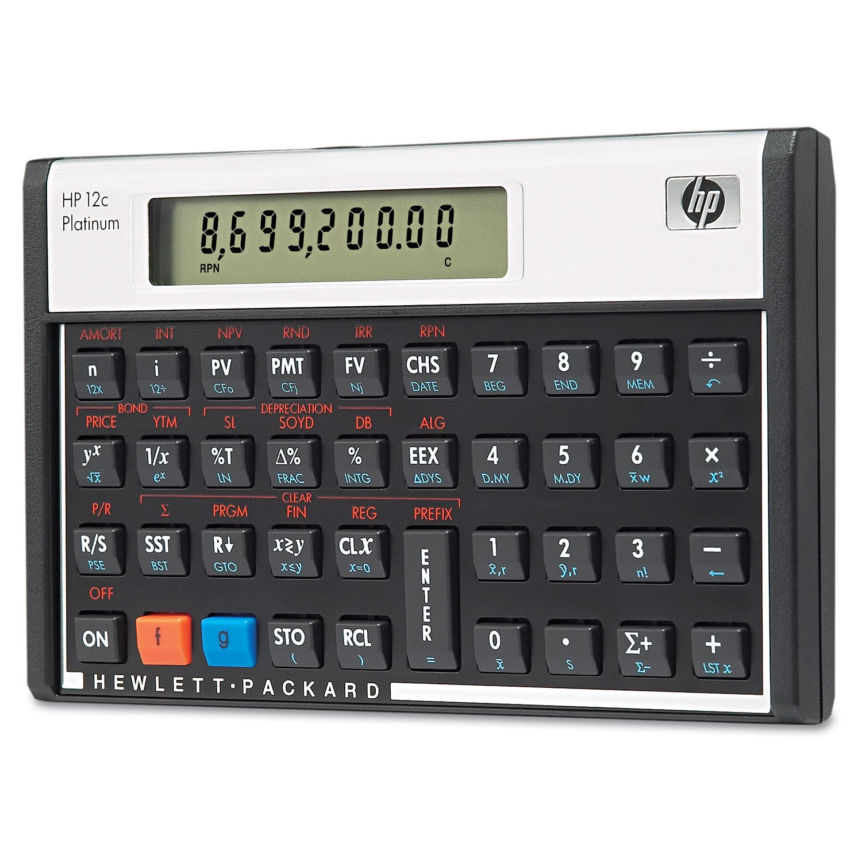 HP F2231AA 12c Platinum Financial Calculator 10-Digit LCD Math ...