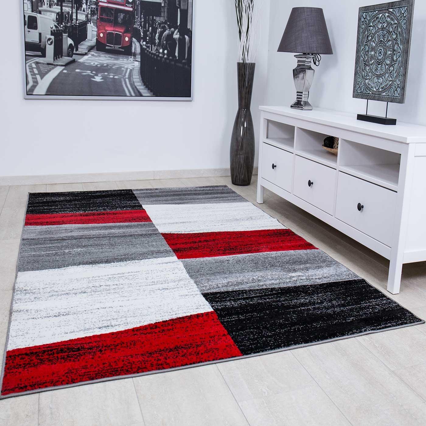 VIMODA Wohnzimmer Teppich Modern Geometrisches Muster Meliert in Rot Grau Weiß und Schwarz - ÖKO TEX Zertifiziert, Maße 200x280 cm