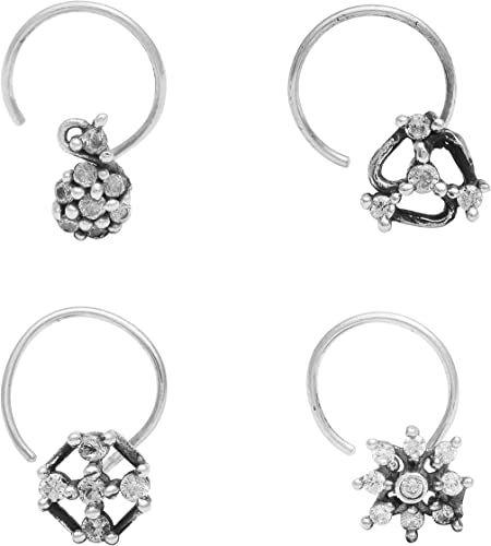 Shine Jewel 925 Sterling Silver Cubic Zirconia Oxidized Nose Pin For Women Set of 4 Flower