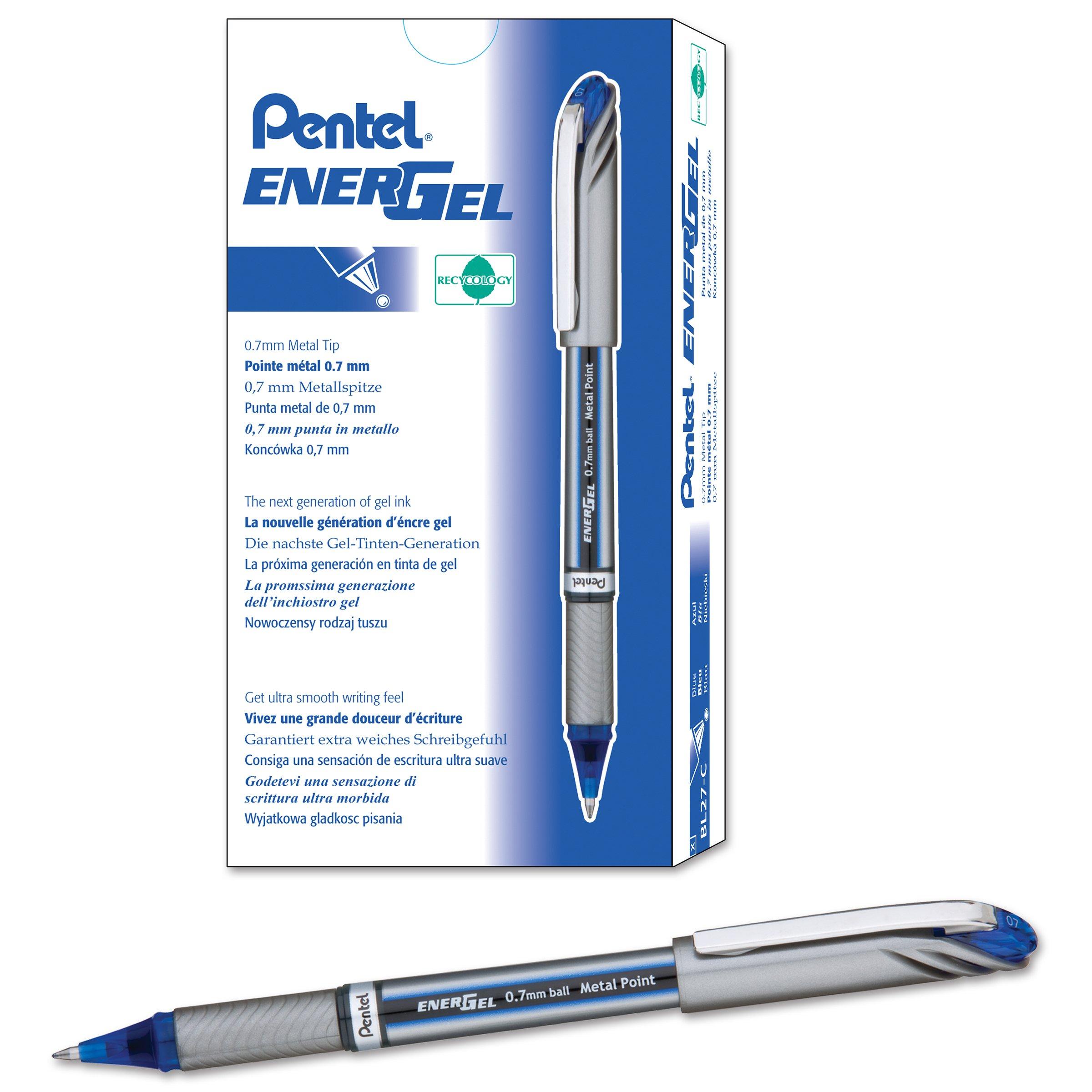 Pentel EnerGel NV Liquid Gel Pen, 0.7mm, Medium Line Capped, Metal Tip, Blue Ink, Box of 12 (BL27-C) by Pentel (Image #1)