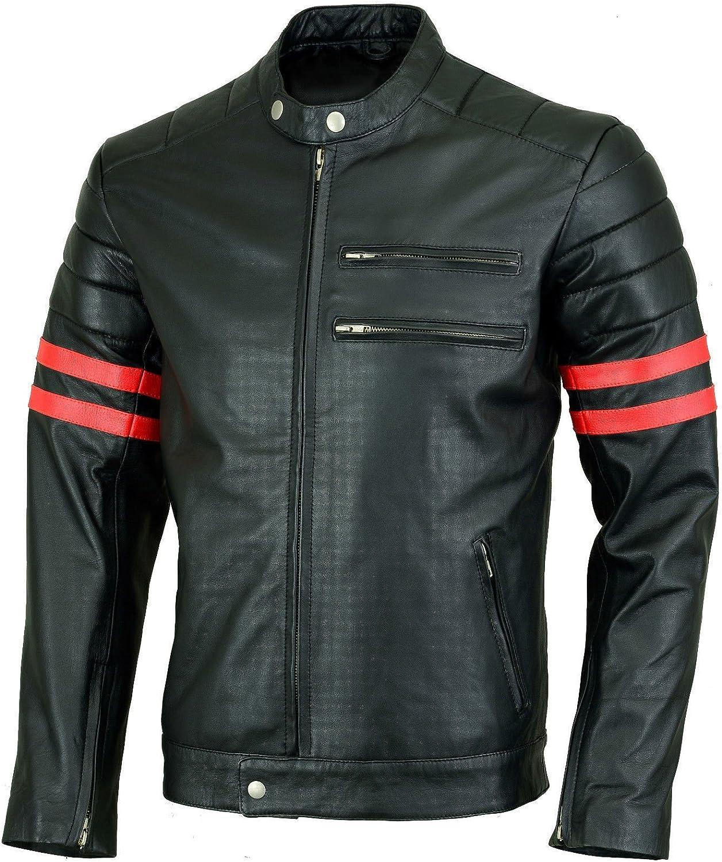 New Men Designer Genuine Lambskin Soft Biker Leather Jacket T1091