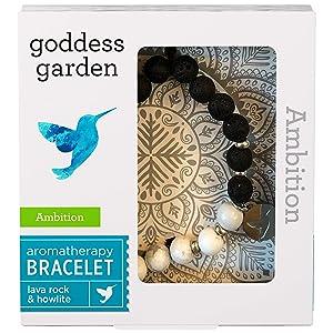 Goddess Garden - Ambition Aromatherapy Bracelet - On-the-Go Essential Oil Diffuser Jewelry, Genuine Stones, Natural Beads, Balancing Lava Rock, Enlightening Howlite, Hummingbird Charm - 1 Bracelet